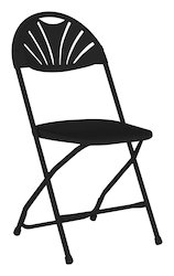 Black Fan Back Plastic Folding Chair for Hotel and Wedding