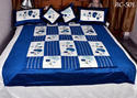 Blue Cotton Floral Print Silk Designer Bed Sheets