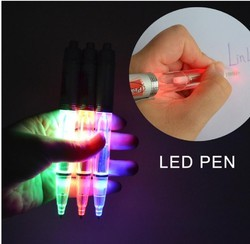 Plastic And Metal LED Laser Light LOGO Engrave Ball Pen Promotional Messages