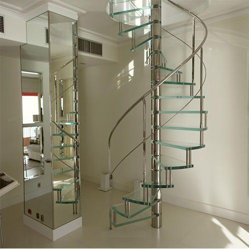 Luxmi Enterprises Palampur Stainless Steel: Glass & Steel Spiral Staircase
