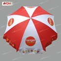 White And Red Polyester Designer Promotional Umbrella