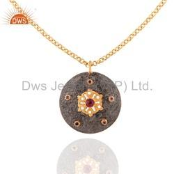 Jaipur Silver Natural Gemstone Chain Pendant