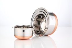 TALLBOY Silver Copper Bottom Steel Dishes set, Size: Multi, Capacity: Small Medium Big
