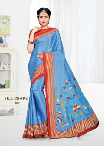 Party Wear Printed Uniform Crepe Silk Saree, Size: 6.5, 6.3 m (with blouse piece)