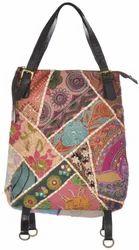 Handmade Multicolor PatchWork Leather Handle Bag