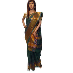 Cotton Printed with Gold Tissue Border Saree