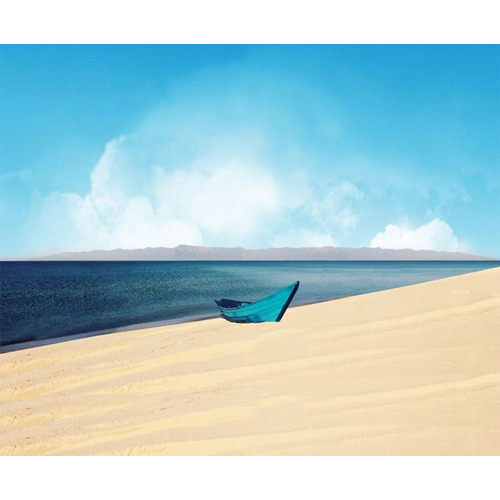Vinyl Horizontal And Vertical Lonely Boat Sea Landscape