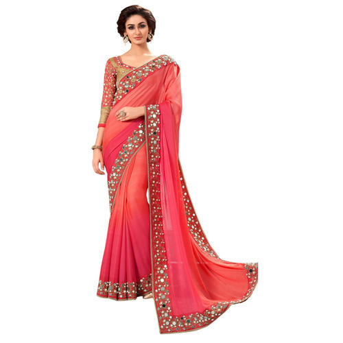 77d4278d14cb3d Mirror Work Saree With Embroided Lace, मिरर वर्क साड़ी ...