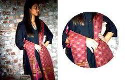 Maroon Khada Meheshwari Gold Dupatta