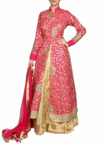 ed3eb076c6 Gold Desinger Wedding Jacket Anarkali Suit - Roopkala, Mumbai   ID ...