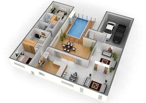 3d layout design for building