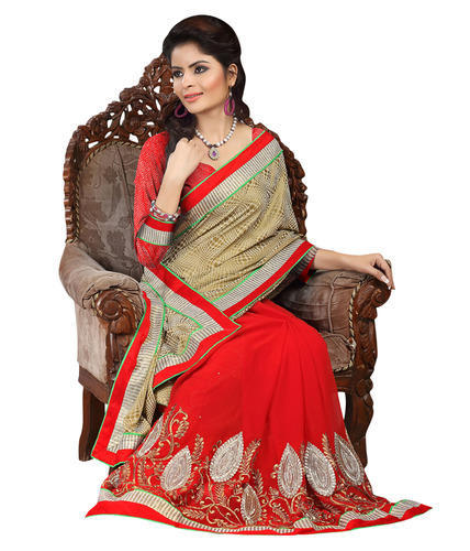 7f177ea06fba42 P.Puria Red Jacquard And Chiffon Party Wear Designer Saree - Shri ...