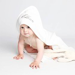 White Cotton Baby Hooded Towel
