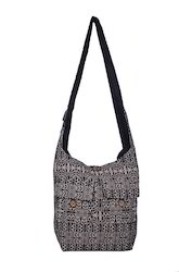 Beige And Black Embroidery Jacquard Traditional Bag