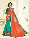 Georgette Designer Saree, With Blouse Piece