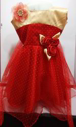Party Wear Baby Frock - Sandal and Red
