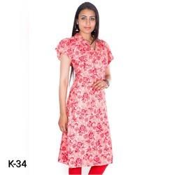 Cotton Frill Collar Kurti in Floral Print