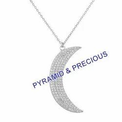 Silver Half Moon Pendant Necklace