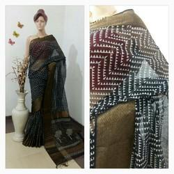 Black Border, Printed Maheshwari Handloom Silk Cotton Sarees