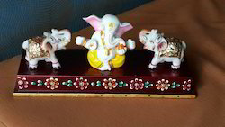 Marbal Elephant Ganesh Wood Bass Metal Colour