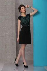 Casual Wear Sleeveless Ladies Black One Piece Dress