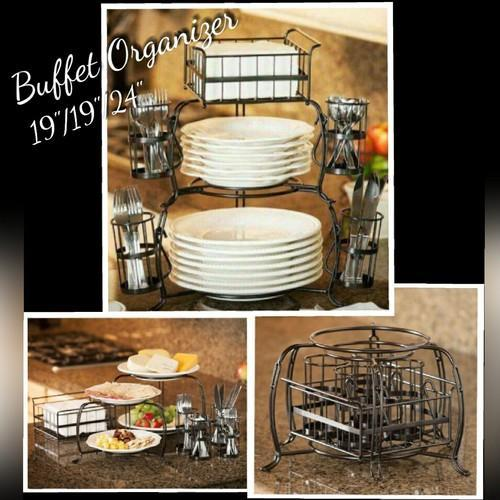 White Iron Metal Buffet Organizer