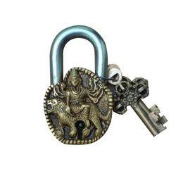 Brown Aakrati Big Durga Sculpture Brass Metal Door Safety Antique Pad Lock