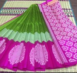 Pink and Green Kuppadam Silk Cotton Saree