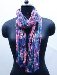 EGSC00032 Cotton Printed Scarf with Contrast Pompom Lace