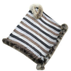 Knitted Poncho Raccoon Fur Scarves