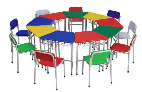 Multicolor Play School Table With Chair