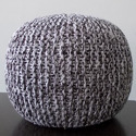 Brown White Knitted Pouf