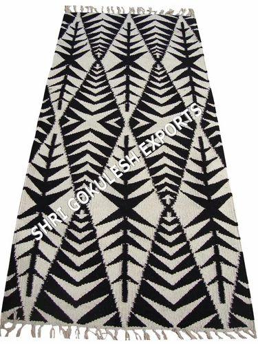 Woven SGE Black Kilim Cotton Rugs