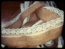 Jute lace Burlap Ribbon ( Single Side)