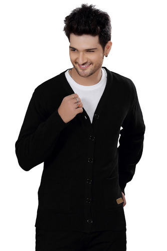 Elegance Cut Black Cotton Men' ' s Cardigan