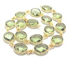 Green Amethyst Bezel Chain