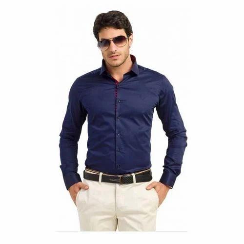 Teemper Men''s Navy Coloured Casual Shirt