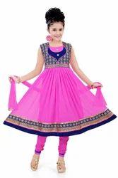 Cotton Wedding Wear Net Embroidered Churidar For Girls