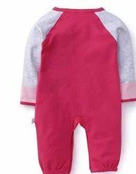 Raglan Sleeves Sleepsuit Embroidery Pink Grey