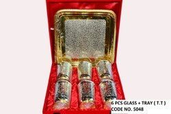Gold & Silver 6 Pcs Glass Set With Tray/Diwali Gift