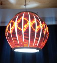 Spherical Wooden Hanging Lamp With Slitz