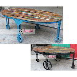 Jangid Art And Crafts Industrial Cart Coffee Table, Size: 128x70x50 cms