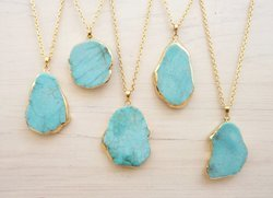 Turquoise Slice Pendant Necklace