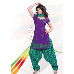 Cotton Purple and Green Designer Patiala Suit