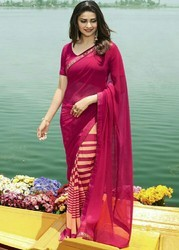 Fabzone Beautiful Pink Color Georgette Printed Saree