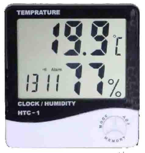 HTC 1 3 In 1 Hygrometer/Thermometer/Clock Humidity Measure