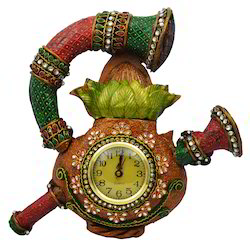 Wooden & Paper Mache Sahanai Kalash Wall Clock