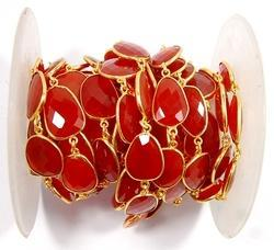 Carnelian Bezel Set Gemstone Station Chain