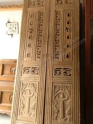 MBK Finished Teak Wood Pooja Double Door, Size: 38x79 Inch