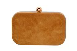 Genuine Suede Leather Box Clutch